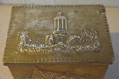 Vintage Tea Caddy, Hammered Brass with burns cottage & monument decoration