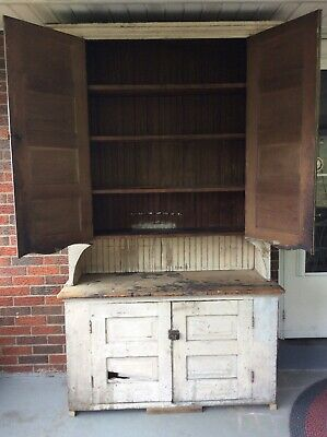 """Antique Farm House Cupboard Step back Cabinet 19th C. Painted PA. 7'2"""" X  4'2"""""""