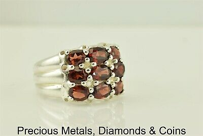 Sterling Silver 14mm Triple Stacked Red Garnet Ribbed Band Ring 925 Sz: 9