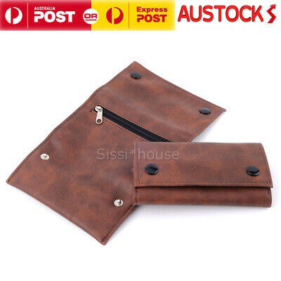 Brown Faux Leather Cigarette Tobacco Pouch Bag Case Paper Christmas Gift AU OZ
