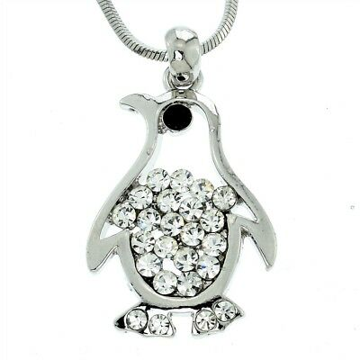 "PENGUIN Necklace Made With Swarovski Crystal Clear Charm Pendant 18"" Chain"