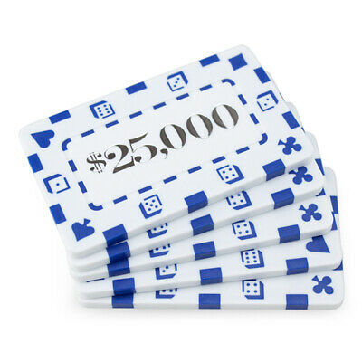 10 White $25000 32g Rectangular Square Poker Chips Plaques - Buy 2, Get 1 Free