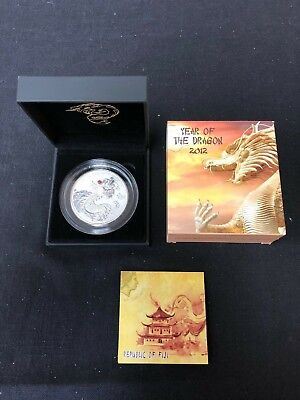 Fiji 2012 $20 Year of the Dragon, Red Fire Dragon 20z. Silver Coin