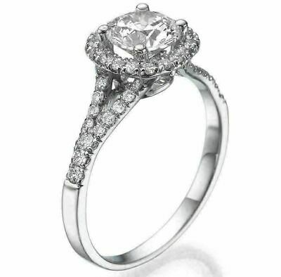 1.00 Carat Round Cut D VS Solitaire Diamond Engagement Ring 14K White Gold
