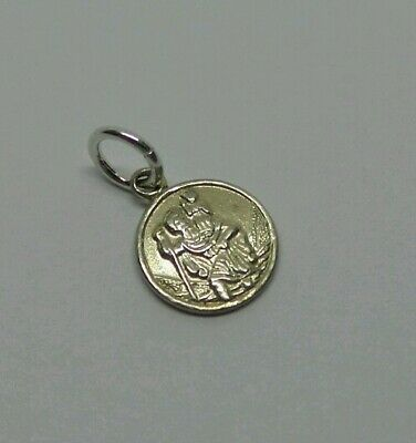 Lovely Vintage 925 Sterling Silver Tiny St Christopher Medallion Pendant Charm