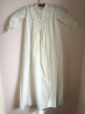 Victorian Vintage Christening Baptism Gown Long Dress Cotton Lace Ivory