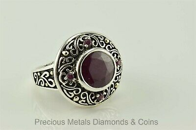 Sterling Silver Round 2.5ct Bezel Ruby Bali Ring Scroll Accent 925 Sz: 6