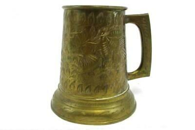 "Vintage Etched Brass Handled Tankard Cup India 82-J 4"" Tall"