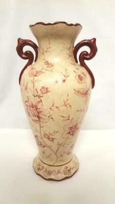 "Toyo Pottery Bringier McConnell Country French Style Red Floral 17"" Vase"