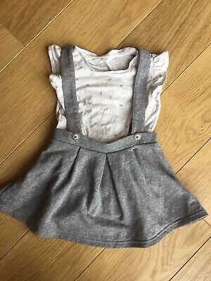 Next Baby Girl Grey Pinafore Skirt Dungaree Dress Outfit 12-18 Months 🥰