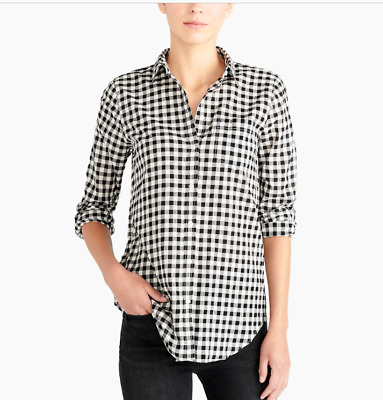 40f1dc8fe4c9d J. Crew Petite Gingham Check Button Down Shirt Navy In Boy Fit Blouse B9477  Pxs