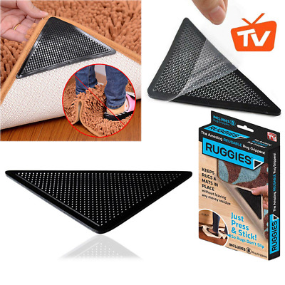 8 X Ruggies Rug Grippers Carpet Mat Non Slip Skid Reusable Washable Grips