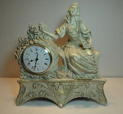 Vintage Ornate Ivory/Gold Metal United Battery Clock Heavy Duty Metal Clock