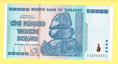 100-trillion Zimbabwe dollars UNC banknote 2008 AA & letter of authenticity P91
