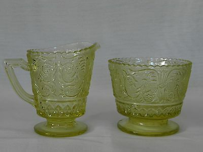Vintage Greenish Yellow Cut Glass Cream & Sugar Set Scallop Rim Beautiful!