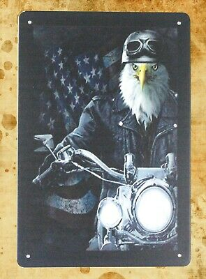 cheap metal signs sale bald eagle motorcycle biker American flag tin