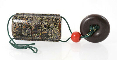 Japanese 19th c. lacquer inrō with netsuke and ojime, tea dust interior [11630]