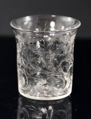 Signed Libbey copper-wheel engraved small whiskey taster ca 1900 [11729]