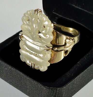 Art Deco Chinese Carved Hetian White Jade Silver Ring