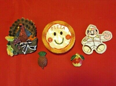 Lot of 5 - Vintage Food Related Magnets - Fruit, Pizza, Turkey & Donuts