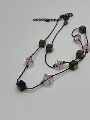 beautiful fixed place glass bead choker necklace bronze tone chain