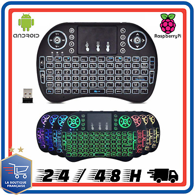 BASKER Mini i8 Wireless AZERTY Clavier Français Souris Télécommande Android Box