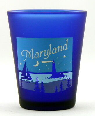 Maryland Nautical Scene Cobalt Blue Frosted Shot Glass Shotglass