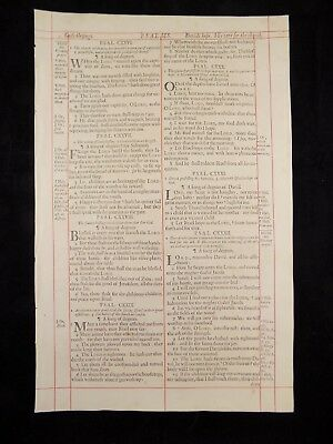 1680 Oxford First Folio King James Bible Leaf *psalm 126:1-136:23*god's Blessing
