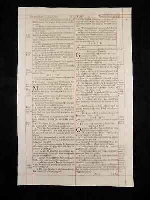 1680 Oxford First Folio King James Bible Leaf*psalm 44:16-50:19*be Still & Know*