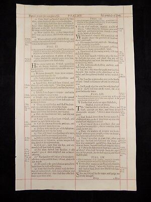1680 Oxford First Folio King James Bible Leaf *psalm 50:20-57:3*prophecy Of Doeg