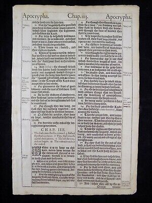 1611 KING JAMES Bible Page * Lot Of 2 Contiguous Leaves From