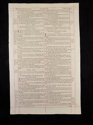 1680 Oxford First Folio King James Bible Leaf *psalm 28:6-34:8 * God  Be Honored