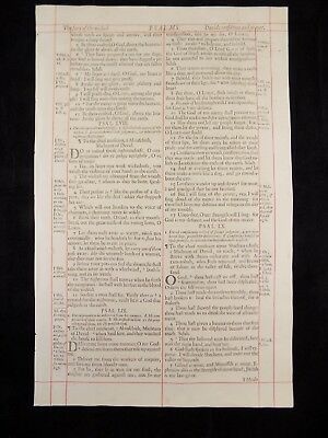 1680 Oxford First Folio King James Bible Leaf*psalm 57:4-64:10*confidence In God