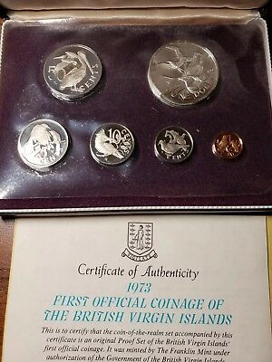 1973 British Virgin Islands Proof Set  6 coin Sterling Silver Dollar Coin