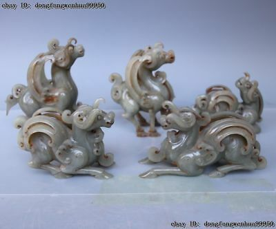 China Natural Old He Tian Jade Carving Dynasty Five Ovine Sheep Goat Statue Set