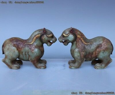 China Old HeTian Jade Nephrite Carving Animal wild Beast God Statue A Pair