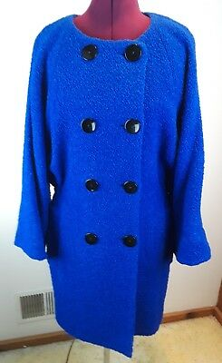 NEW $348 FRENCH CONNECTION Electric Blue Bubbly Bounce Collarless Coat Size12