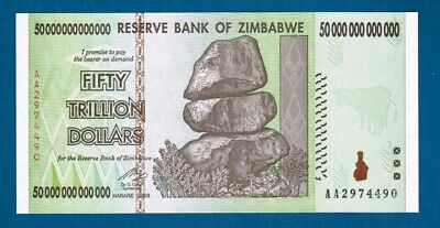 50-trillion Zimbabwe dollars UNC banknote 2008 AA and letter of authenticity P90
