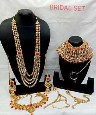 Bridal & Wedding Party Jewelry Responsible Ruby Red Stone Reverse Ad Gold Polki 9pcs Bridal Necklace Set Reception Diwali
