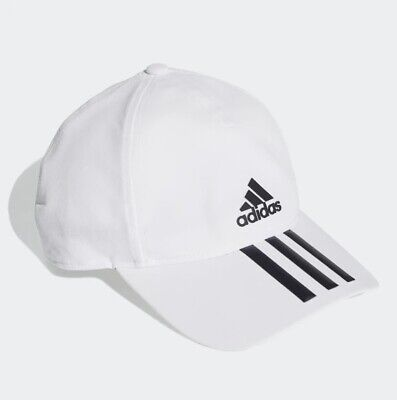 New Adidas C40 3 Stripe Climalite White Baseball Cap Hat Adjustable OFSM DT8544