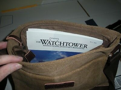 """NEW Tan Canvas Leather Watchtower WITNESSING Bag Mens or Womens Jehovah"