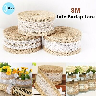 8M Trims Tape Rustic Wedding Party Natural Jute Burlap Hessian Ribbon with Lace