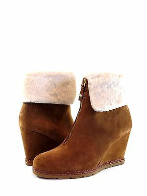 879dc69ae55a Kate Spade New York Stasia Tobacco Brown Suede Cream Fur Ankle Boot Size 10