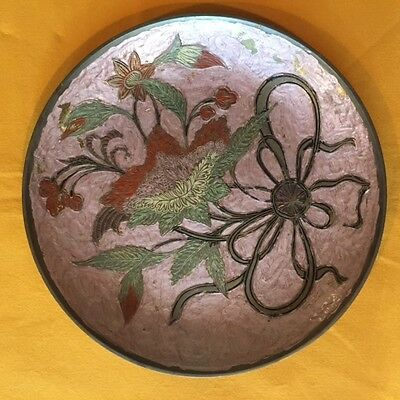 Large Brass Enameled Plate from India 12""