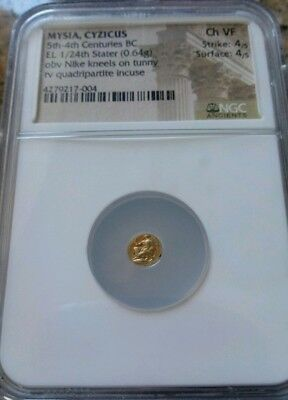 Mysia, Cyzicus 1/24th Stater Nike w/ Tunny NGC Ch VF 4/4 Ancient Gold Coin RARE!