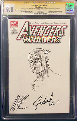 ALEX ROSS signed ORIGINAL ALEX MALEEV Sketch Art CGC 9.8 Avenger Captain America