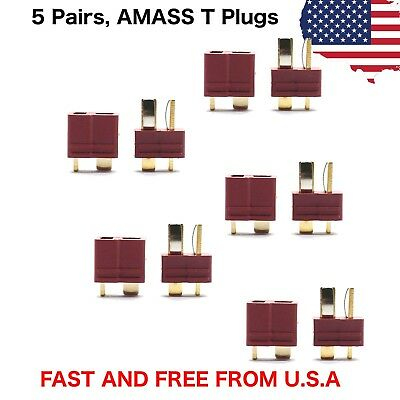 5 Pairs Amass T Plug Male & Female Connectors Deans Style For RC LiPo Battery