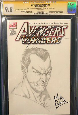 ALEX ROSS signed ORIGINAL MIKE PERKINS Sketch Art CGC 9.6 Avengers NAMOR CBCS