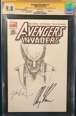 ALEX ROSS signed ORIGINAL STEVE SADOWSKI Sketch Art CGC 9.8 Wolverine X-Men CBCS