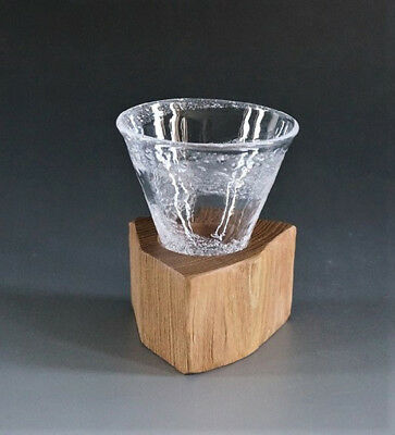 """UU021002 Drinking Glass with Wooden Holder /""""Swirls/"""" Small Japan JUNCOBO"""